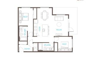 2 Bedroom 2 Bathroom Floor Plan at Vue 22 Apartments, Bellevue, WA