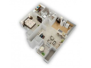 1 Bed 1 Bath Floor Plan at Farmington Lakes Apartments, Illinois, 60543