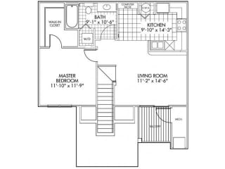 One bedroom One bathroom Floor Plan at Farmington Lakes Apartments, Oswego, Illinois