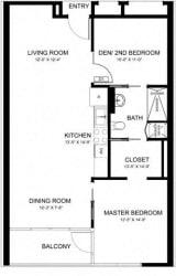 Centro Apartments - 2 bed 1 bath Floor plan