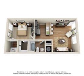 1 Bed, 1 Bath, 566 sq. ft.