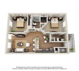 2 Bed, 2 Bath, 866 sq. ft.