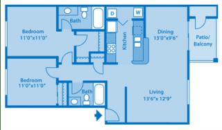 Sundown Village 2C Floor Plan image depicting floor plan layout.
