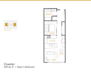 Floor Plan Coaster - 1x1 Open