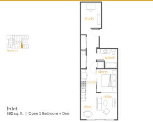 Floor Plan Inlet - 1x1 Open + Den