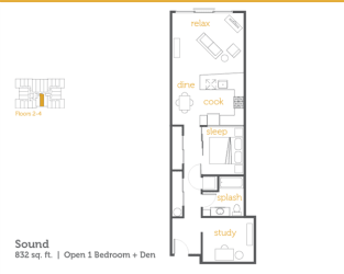 Floor Plan Sound - 1x1 Open + Den