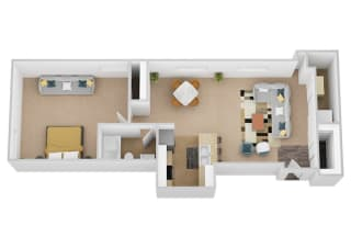The Donatelo One Bed One Bath Floor Plan at Renaissance at the Power Building, Cincinnati, Ohio