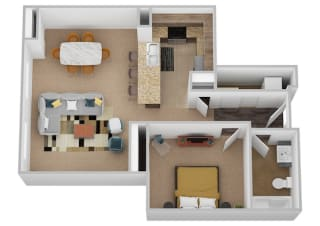 The Shakespeare One Bed One Bath Floor Plan at Renaissance at the Power Building, Ohio