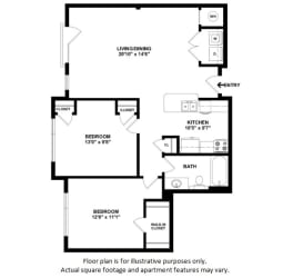 Apartment 24F floor plan at The District, CO, 80222
