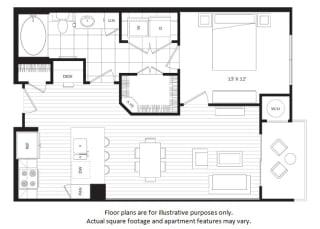 A1 floor plan at Windsor Oak Hill, Austin, TX