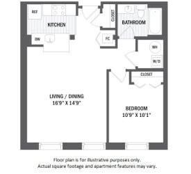 A11(3) floor plan at Jack Flats by Windsor, Melrose, Massachusetts