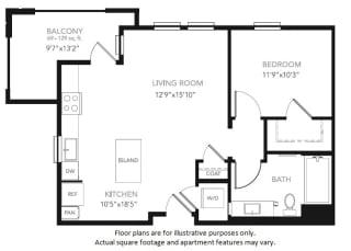 A1-W One Bedroom One Bath Floor Plan  at Blu Harbor by Windsor, California, 94063