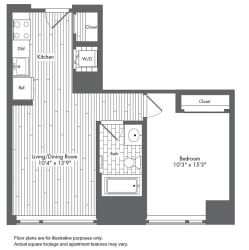 A2 1 Bed 1 Bath Floor Plan at Waterside Place by Windsor, Massachusetts, 02210