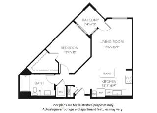 A2 -W One Bedroom One Bath Floor Plan at Blu Harbor by Windsor, 1 Blu Harbor Blvd, Redwood City
