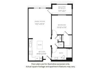 A3-W One Bedroom One Bath Floor Plan at Blu Harbor by Windsor, 1 Blu Harbor Blvd, Redwood City