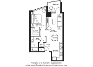 A5 South floor plan at The Bravern, Washington, 98004