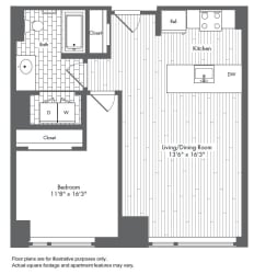 A5 1 Bed 1 Bath Floor Plan at Waterside Place by Windsor, Boston, Massachusetts