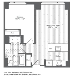 A6 1 Bed 1 Bath Floor Plan at Waterside Place by Windsor, Boston