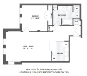 A8(4) floor plan at Jack Flats by Windsor, 1000 Stone Place, 02176