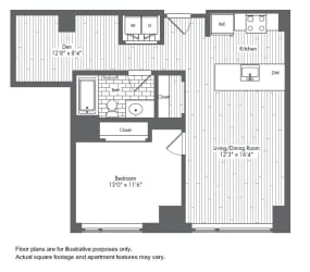 A9 1 Bed 1 Bath Floor Plan at Waterside Place by Windsor, Massachusetts