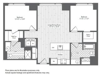 B1 2 Bed 2 Bath Floor Plan at Waterside Place by Windsor, Boston, 02210