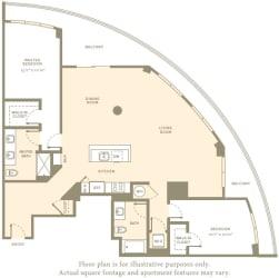 B12 Floor Plan at Amaray Las Olas by Windsor, Florida, 33301