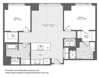 B1 2 Bed 2 Bath Floor Plan at Waterside Place by Windsor, Boston, MA