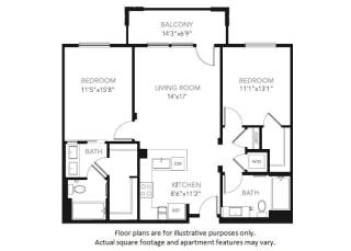 B1-W Two Bedroom Two Bath Floor Plan at Blu Harbor by Windsor, Redwood City, California