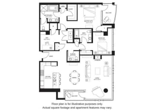 B23 North floor plan at The Bravern, Bellevue, WA
