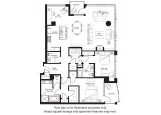 B24 North floor plan at The Bravern, WA, 98004