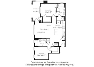 B3 Two Bedroom Two Bath Floor Plan at Blu Harbor by Windsor, California, 94063