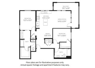 B3-W Two Bedroom Two Bath Floor Plan at Blu Harbor by Windsor, Redwood City, California