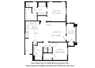 B4 Two Bedroom Two Bath Floor Plan at Blu Harbor by Windsor, Redwood City, CA