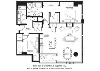 B7 North floor plan at The Bravern, Bellevue, WA