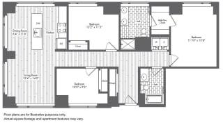 C1 3 Bed 2 Bath Floor Plan at Waterside Place by Windsor, Boston, Massachusetts