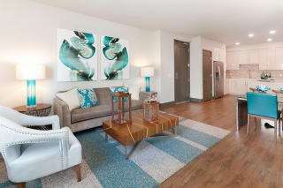 Decorated living room at Blu Harbor by Windsor, Redwood City, California