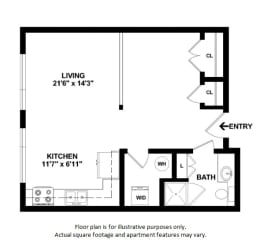 Studio Efficiency 2D floor plan at The District, CO, 80222