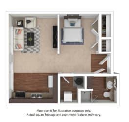 Studio Efficiency 3D(1) floor plan at The District, CO, 80222