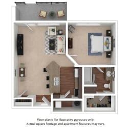 1x1_1A_728sf floor plan at The District, 6300 E. Hampden Ave., 80222
