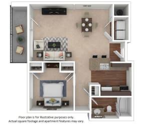 1x1_24E_694sf floor plan at The District, Colorado, 80222