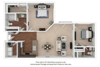 2x1_20F_1114sf floor plan at The District, Denver, CO