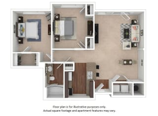 2x1_24f_991sf floor plan at The District, 6300 E. Hampden Ave., 80222
