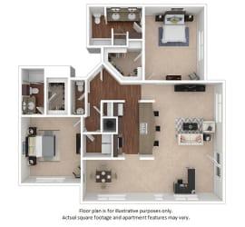 2x2-5_8B_1576sf floor plan at The District, 6300 E. Hampden Ave., 80222