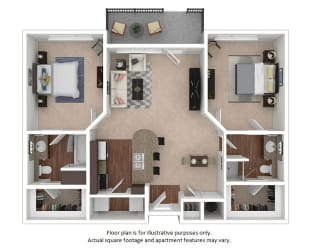 2x2_3A_1026sf floor plan at The District, CO, 80222