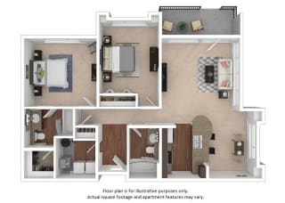 2x2_6A_1072sf floor plan at The District, CO, 80222