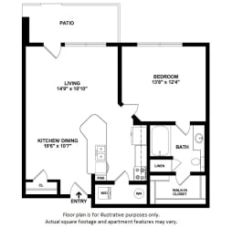 1x1_1A_728sf floor plan at The District, Denver, CO