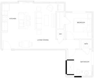 1 Bed/1 Bath Loft A4 L Floor Plan at The Royal Athena, Bala Cynwyd, Pennsylvania
