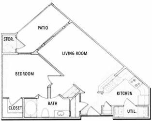 1 Bedroom 1 Bathroom Floorplan