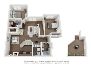 2 Bed 2 Bath 2 Floors 3D Floor Plan B