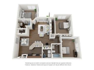 3 Bed 2 Bath 3D Floor Plan